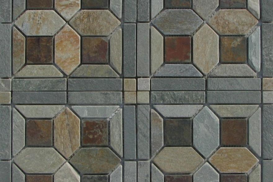 Мозаика каменная - Мозаика Сланец Цветочный орнамент