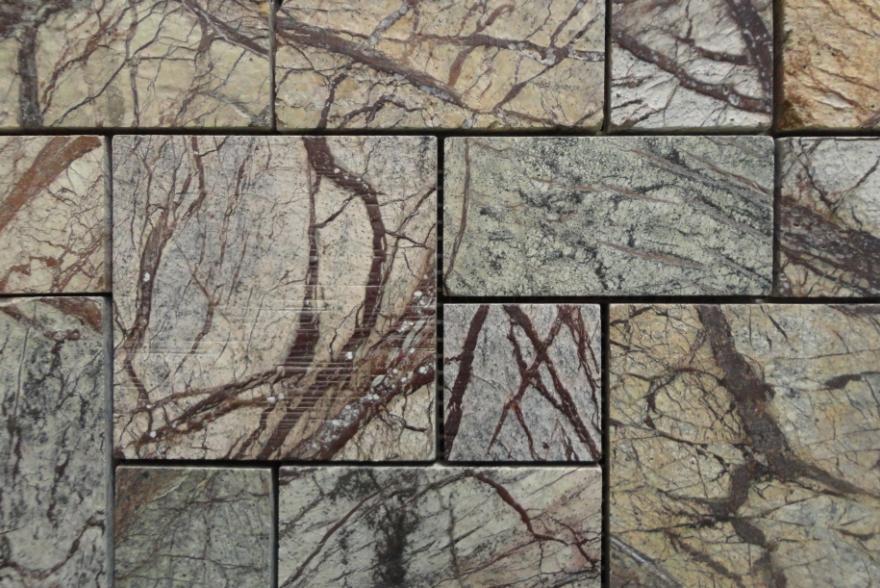 Мозаика каменная - Мрамор Forest Brown четырехугольники